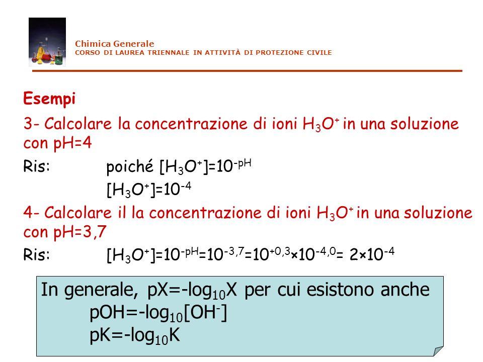 Esempi In generale, pX=-log10X per cui esistono anche pOH=-log10[OH-]